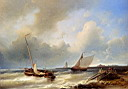 Oil painting reproduction of Abraham Shipping Off The Dutch Coast